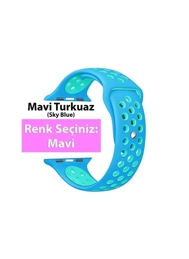 Jacobson Apple Watch 42-44 Mm Delikli Rainbow Sport Band Kordon Mavi